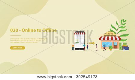 O2o Online To Offline E-commerce New Concept Technology With Store And Website Page For Website Temp