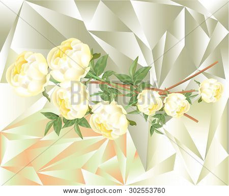Beautiful Yellow Peonies With Light Color Cubism Background