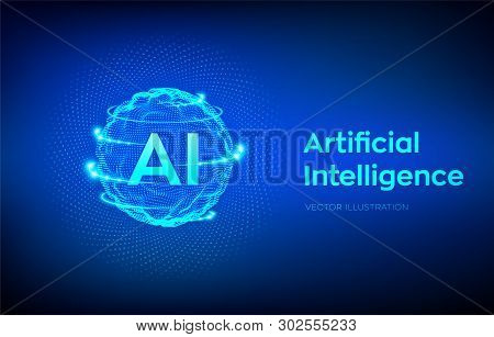 Ai. Artificial Intelligence Logo. Artificial Intelligence And Machine Learning Concept. Sphere Grid