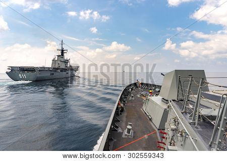 Andaman Sea, Thailand - April 12, 2019 : Htms Bhumibol Adulyadej Guided Missile Stealth Frigate Appr