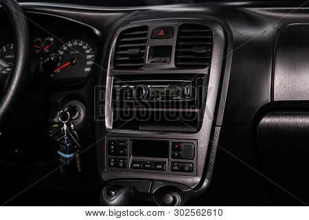 Novosibirsk, Russia - May 20, 2019:  Hyundai Sonata , Close-up Of The Dashboard, Adjustment Of The B