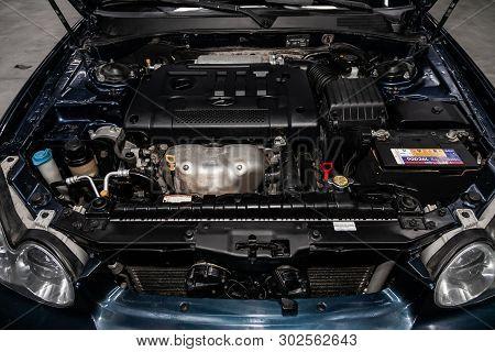 Novosibirsk, Russia - May 20, 2019:  Hyundai Sonata , Close-up Of The Engine, Front View. Photograph