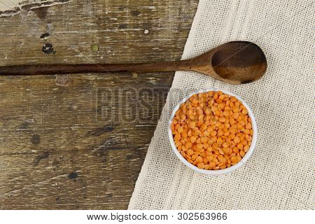 Dried Lentil, Minimally Processed Food In Rustic Background