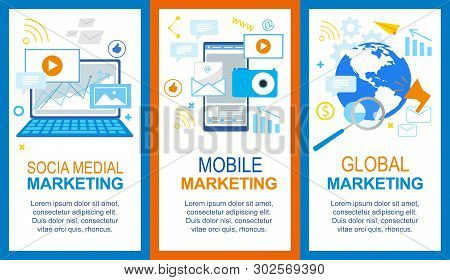 Social Media. Mobile Global Marketing Banner Set. Computer Smartphone Advertisement, Financial Strat
