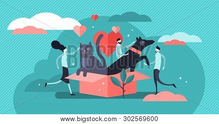 Animal Shelter Vector Illustration. Flat Tiny Pets Adoption Community Persons Concept. Cats And Dogs