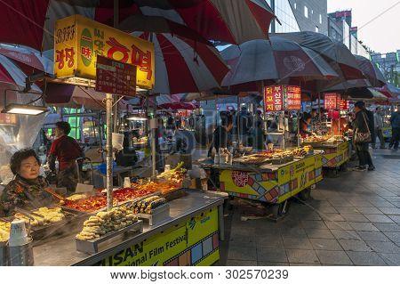 Busan, South Korea - April 2019: Local Korean Street Food Vending At Busan International Film Festiv