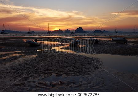 A Sunset View From Tubkaak Beach, Krabi, Thailand.