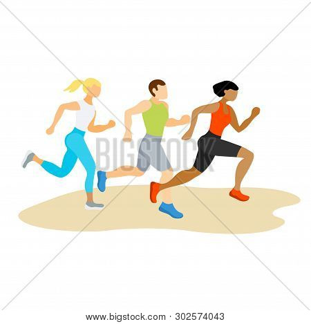 Running People. Runners Group In Motion. Active Lifestyle And Fitness. People Runner Race, Training