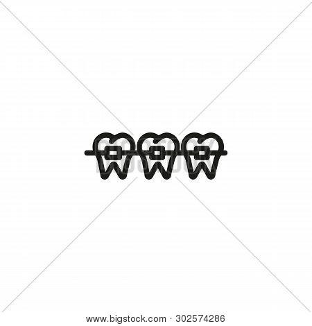 Braces Line Icon. Molar, Metal, Orthodontics. Teeth Health Concept. Vector Illustration Can Be Used