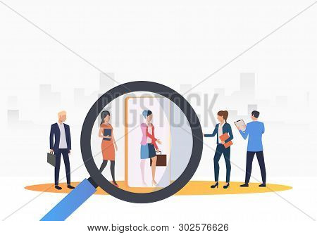 Business People Searching For Job Candidates. Hr, Headhunting, Hiring Concept. Vector Illustration C