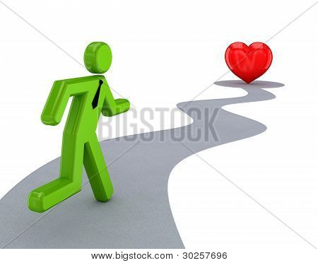 3d small person running to a red heart.