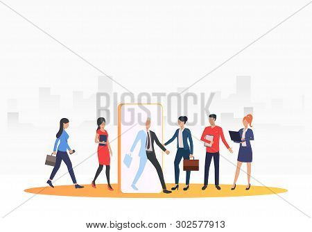 Recruitment Agency Searching For Job Applicants. Hr, Headhunting, Hiring Concept. Vector Illustratio