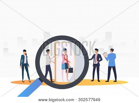 Recruitment Agency Searching For Job Candidates. Hr, Headhunting, Hiring Concept. Vector Illustratio