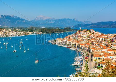 Greek town Poros at sunny day, Greece