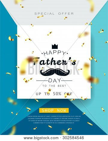 Father S Day Vector Illustration Poster, Glitter , With Falling Golden Confetti Blur Effect.