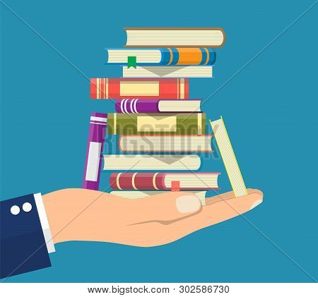Pile Of Books In Hand. Reading Education, E-book, Literature, Encyclopedia. Vector Illustration In F