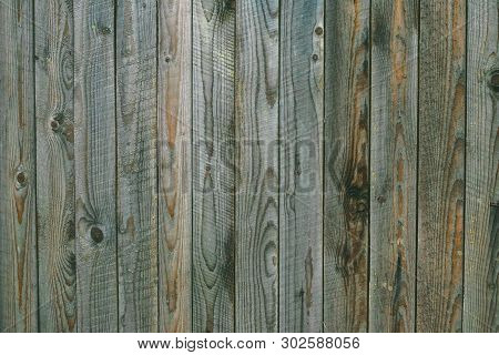 Texture Of Weathered Gray Green Wooden Boards. Vintage Wood Pattern, Surface. Dirty Shabby Timber, O