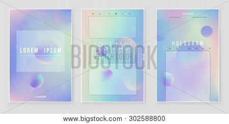 Furistic Modern Holographic Cover Set. 90s, 80s Retro Style.  Minimalistic Hipster Design Digital Co