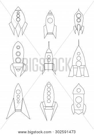 Set Of Outline Spacecraft Icons. Linear Drawing Of Shuttles. Different Types Of Rocket. Vector Stars