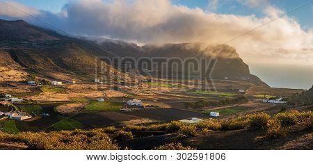 One Of The Few Valleys On Lanzarote Suitable For Growing Plants. Village Haria, Lanzarote