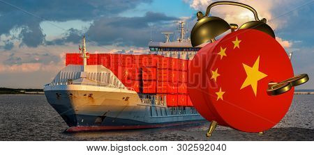 Alarm Clock Wound Up In The Colors Of The China Flag Symbolizing The Ordering Of Goods In China On T