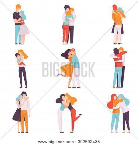 Happy Young Male And Female Embracing Each Other Set, People Celebrating Event, Couples In Love, Bes