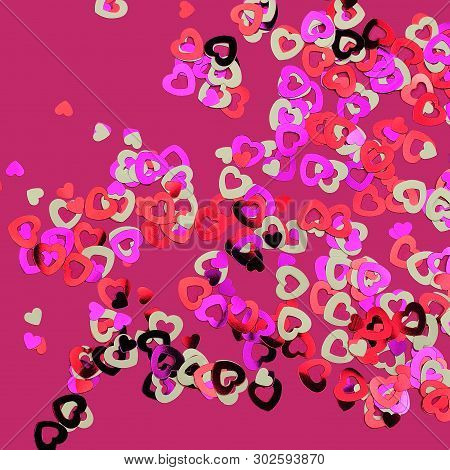 gleaming metal hearts in white pink and red on purple background poster