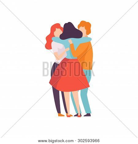 Group Of Happy Young Male And Female Embracing Each Other, People Celebrating Event, Best Friends, F