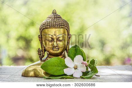 Buddha Head Statue. Golden Buddha. Copy Space. Buddhism