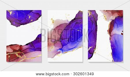 Alcohol Ink, Paint, Abstract Vector Shapes. Closeup Of The Painting. Colorful Abstract Liquid Backgr