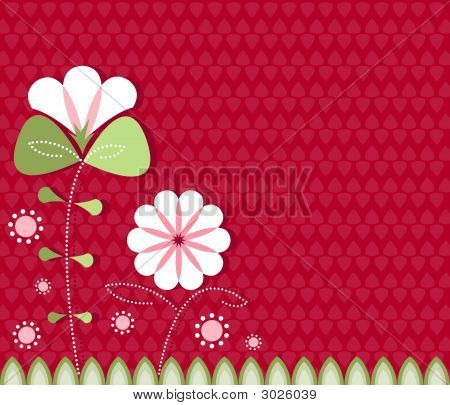 Modern Poppies On Red