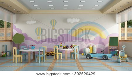 Colorful Kindergarten Class Without Childs ,school Desk,chair,toy And Decoration On Background Wall-