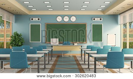 Empty Modern Classrom With Teacher Desk , School Desk And Blackboard - 3d Rendering