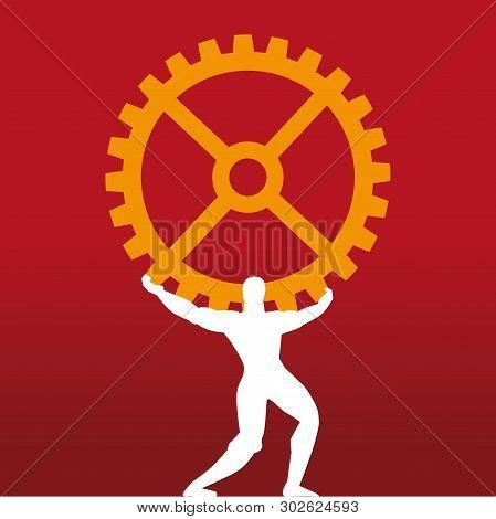 Industrial Leader. Mythology Titan Symbol Supporting Cog.