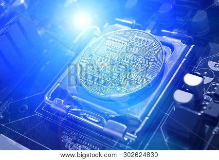 Bitcoin composition. Silver bitcoin among the electronic computer components. Blockchain technology composition, bitcoin mining concept