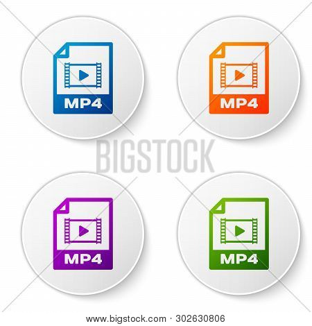 Color Mp4 File Document Icon. Download Mp4 Button Icon Isolated On White Background. Mp4 File Symbol
