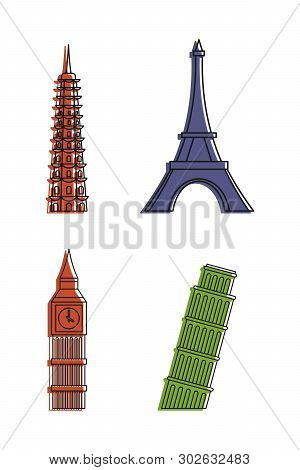 Hystorical Tower Icon Set. Color Outline Set Of Hystorical Tower Icons For Web Design Isolated On Wh