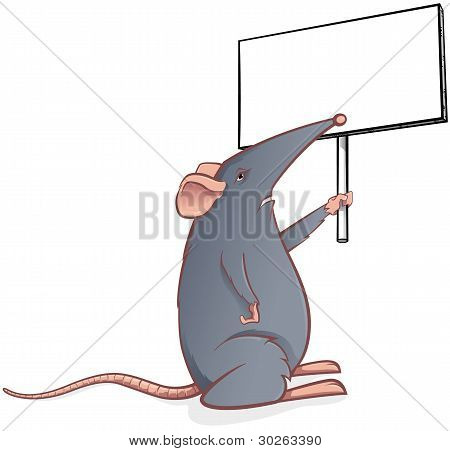 Grey mouse with a black board