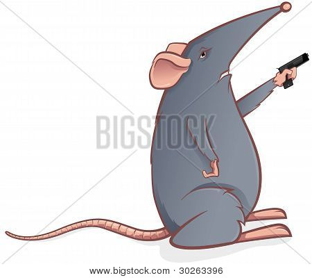 Grey mouse with a pistol