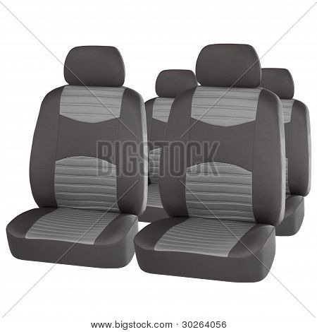 Set Of Grey Car Seats Isolated On White
