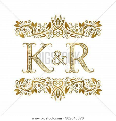 K And R Vintage Initials Logo Symbol. The Letters Are Surrounded By Ornamental Elements. Wedding Or