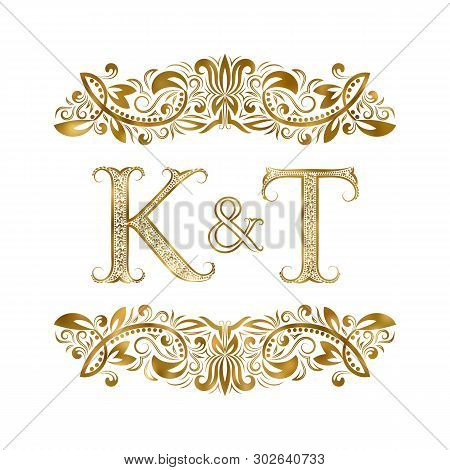 K And T Vintage Initials Logo Symbol. The Letters Are Surrounded By Ornamental Elements. Wedding Or