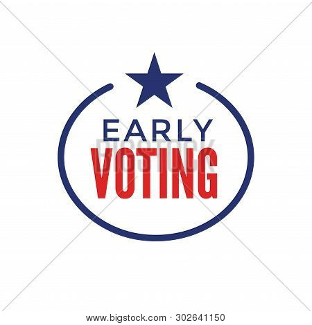 Early Voting Icon With Vote, Icon, & Patriotic Symbolism And Colors
