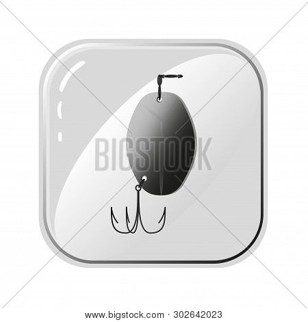 Vector Icons Of Fishhook. Monochrome Drawing On White Background. Simple Template For Developing Log