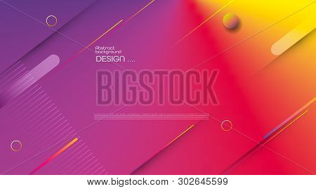 Abstract Dynamic Motion Of Geometric Shape, Pattern Composition. Colorful Gradient Background. Vecto