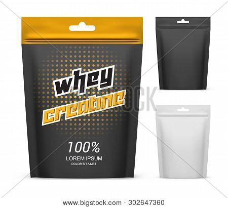 Paper Pack With Whey Creatine Powder. Isolated Package For Sport Nutrition Supplement, Paper Contain