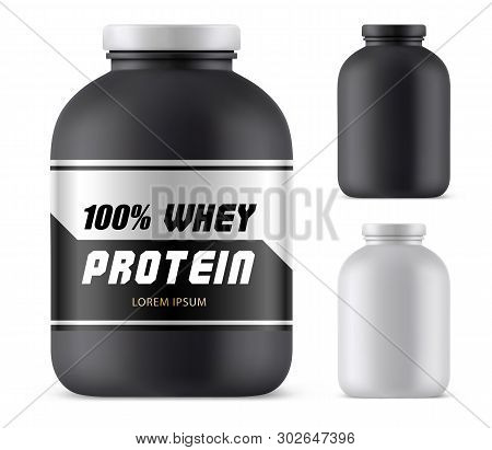 Whey Protein Plastic Container Mockup. Blank Jar For Sport Nutrition, Lid Template For Weight Gain O