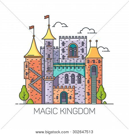 Magic Castle From Fairy Tales, Medieval Princess Stronghold, Cartoon Kingdom Mansion, Dreamlike Colo