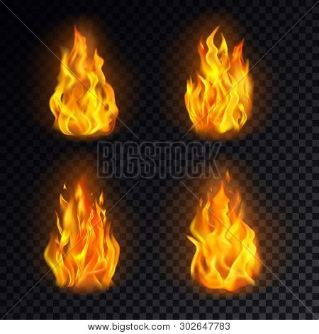 Set Of Isolated 3d Fire Or Realistic Burn, Orange Flame Emoji On Transparent Background. Emoticon Ic