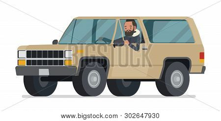Parka Man Driving An Offroad Car. Young Guy Wearing Warm Windproof Fall Jacket With A Hood, Cold Wea